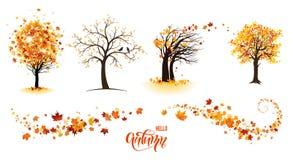 Bomen en bladeren stock illustratie