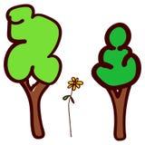 Bomen en bloem in de stijl van de tekening van kinderen stock illustratie