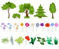 Bomen en bloemen op witte achtergrond Stock Fotografie