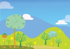 Bomen en de vectorillustratie van het heuvellandschap Stock Afbeelding