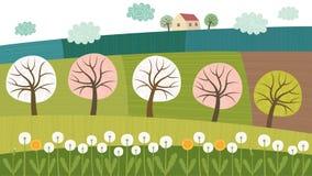 Bomen en gebieden vector illustratie