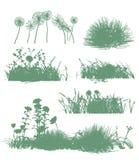 Bomen en grassilhouetten Royalty-vrije Stock Afbeeldingen