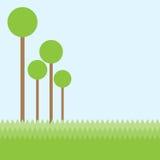 Bomen en groen gebiedslandschap op blauwe hemelachtergrond Royalty-vrije Stock Afbeelding