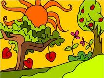bomen en harten vector illustratie
