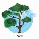 Bomen en hemelpictogram Stock Fotografie