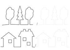 Bomen en huizen die - kleuren Royalty-vrije Stock Afbeeldingen