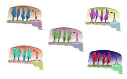 Bomen en lantaarn Stock Afbeeldingen