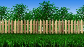 Bomen en omheining op gebied Royalty-vrije Stock Afbeelding