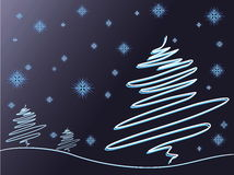 Bomen en sneeuwvlokken Stock Fotografie