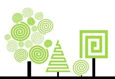 Bomen en struik stock illustratie