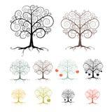 Bomen Geplaatst die op Witte Achtergrond worden geïsoleerd Stock Foto's