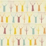 Bomen naadloos patroon in kleuren Stock Afbeelding
