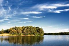Bomen op de rivieroever Stock Afbeeldingen