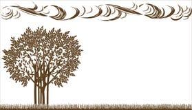 Bomen op de weide Stock Afbeelding