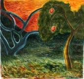 Bomen op de zonsondergang stock illustratie