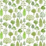 Bomen Vectorpatroon Patroon van de schets het naadloze groene boom voor textiel of ecoachtergrond stock illustratie