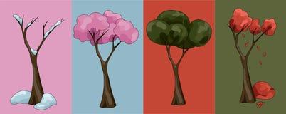 Bomen in vier seizoenen stock illustratie