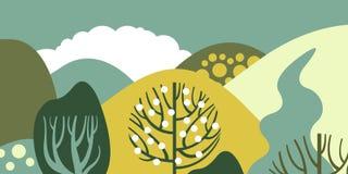 Bomenbroadleaf in een vlakke stijl De lentebos met heuvels Behoud van het milieu, bossen park, openlucht vector illustratie