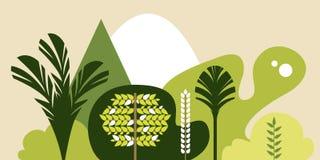 Bomenbroadleaf tropisch in een vlakke stijl Behoud van het milieu, bossen park, openlucht vector illustratie