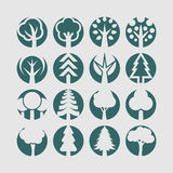 Bomenpictogrammen Royalty-vrije Stock Afbeelding