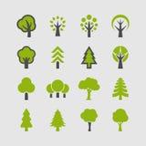Bomenpictogrammen Royalty-vrije Stock Afbeeldingen