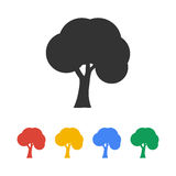 Bomenpictogrammen Vlakke ontwerpstijl Stock Foto's