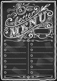 Bommar för den grafiska blackboardmenyn för tappning för eller restaurangen stock illustrationer