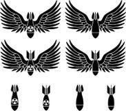Bommen met vleugels stock illustratie