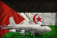 Bommenwerper op de Westelijke de vlagachtergrond van de staat van de Sahara 3D Illustratie stock illustratie