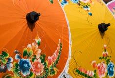 bomull målade paraplyer Royaltyfri Fotografi
