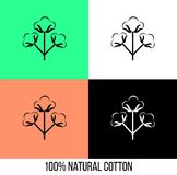 Bomullsblommasymbol i olika färger Arkivfoto
