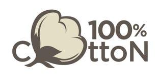 Bomullsetiketter eller logo för ren etikett för 100 procent naturlig bomullstextil Arkivfoto