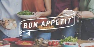 Bon μαγειρική έννοια κουζίνας τομέα εστιάσεως Appetit εύγευστη νόστιμη Στοκ εικόνες με δικαίωμα ελεύθερης χρήσης
