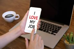 Bon AMOUR de Job Assistant I MON JOB Businessman et femme d'affaires images stock