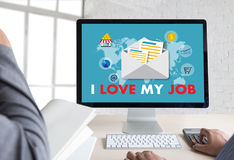 Bon AMOUR de Job Assistant I MON JOB Businessman et femme d'affaires Photo stock