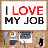 Bon AMOUR de Job Assistant I MON JOB Businessman et femme d'affaires Photographie stock libre de droits