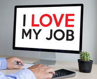 Bon AMOUR de Job Assistant I MON JOB Businessman et femme d'affaires Photos libres de droits