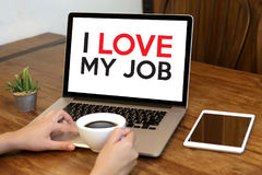 Bon AMOUR de Job Assistant I MON JOB Businessman et femme d'affaires Photo libre de droits