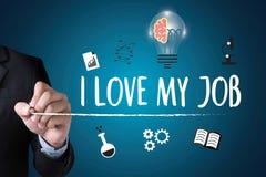 Bon AMOUR de Job Assistant I MON TRAVAIL, j'aime mon travail sur la note, Bu Photo libre de droits