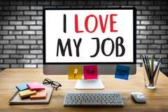 Bon AMOUR de Job Assistant I MON TRAVAIL, j'aime mon travail sur la note, Bu Images stock