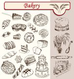 Bon appetit bakery. Confectionery and pastries handmade sketches set vector Royalty Free Stock Photography