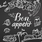 Bon Appetit Chalk Sketch on Blackboard. Black and white. Hand drawn illustration. Black and White, lettering Royalty Free Stock Photography