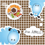 Bon appetit coffee. Funny sheep wish bon appetit Royalty Free Stock Photography