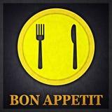 Bon Appetit Concept Design Card. Created in Minimal Art Technique Stock Images