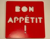 BON APPETIT de la inscripción Foto de archivo libre de regalías