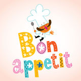 Bon appetit decorative lettering with chef character Royalty Free Stock Photos