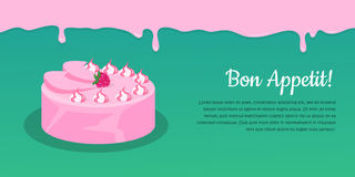 Bon Appetit. Festive Cake Web Banner. Chocolate. Cake bakery  design flat. Birthday cake, dessert and cookies, sweet confectionery, delicious cream, tasty Royalty Free Stock Photography