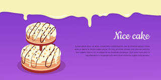 Bon Appetit. Festive Cake Web Banner. Chocolate. Cake bakery  design flat. Birthday cake, dessert and cookies, sweet confectionery, delicious cream, tasty Stock Image