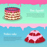 Bon Appetit. Festive Cake Web Banner. Chocolate. Cake bakery isolated design flat. Birthday cake, dessert and cookies, sweet confectionery, delicious cream Royalty Free Stock Photography
