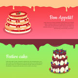 Bon Appetit. Festive Cake Web Banner. Chocolate. Cake bakery isolated design flat. Birthday cake, dessert and cookies, sweet confectionery, delicious cream Royalty Free Stock Photos